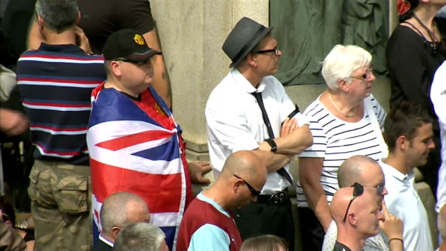 funeral held air views aerials mourners outside church listening to eulogy sot - lee rigby stock videos & royalty-free footage