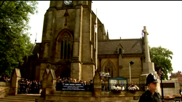 funeral held bury bury parish church overlay funeral service hymn i vow to thee my country** various of bury parish church with crowds standing... - lee rigby stock videos & royalty-free footage