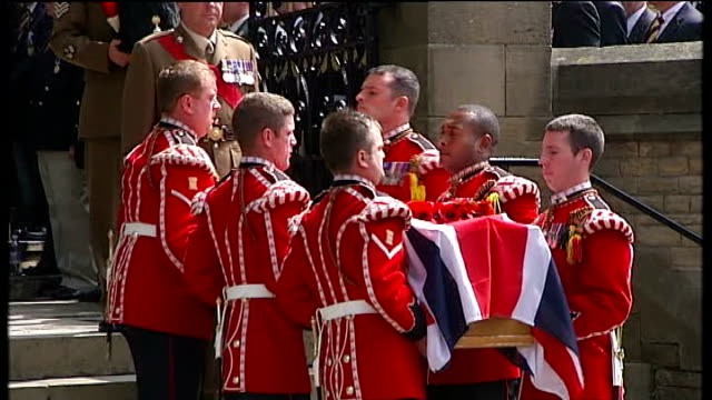 mother interview cutaway lib greater manchester bury ext military pallbearers carrying lee rigby's coffin at his funeral - lee rigby stock videos & royalty-free footage