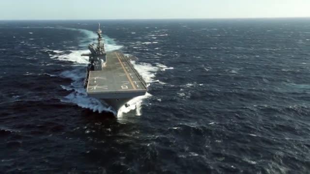 Future amphibious assault ship USS America sails the Gulf