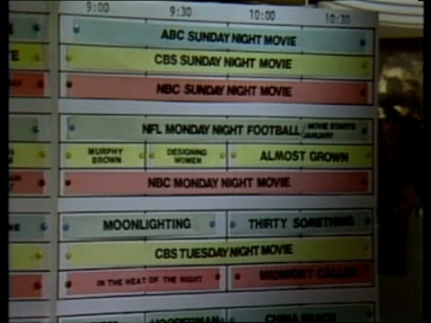story 2 us television itn usa massachusetts boston intvw sof i don't think cms programme schedule board tilt down zoom in name 'tattinger's' go off... - abc broadcasting company stock videos & royalty-free footage