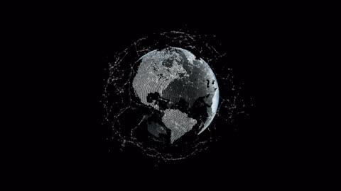 """stockvideo's en b-roll-footage met futuristische 3d aarde met stippen en verbindingen baan rond, concept """"technologie"""" - krant"""