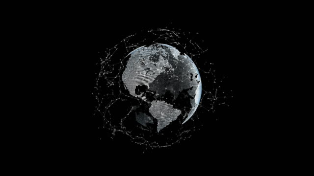 futuristic 3d earth with dots and connections orbit around, technology concept - spinning stock videos & royalty-free footage