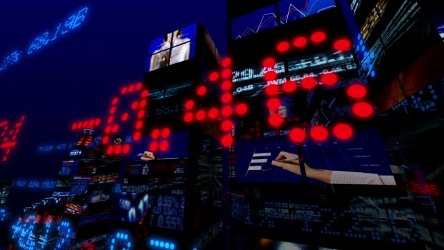 futuristic 3d stock market city - exchange stock videos and b-roll footage
