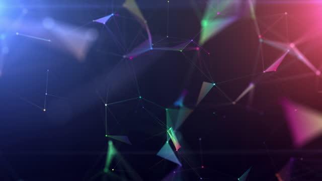 futuristische abstrakte hintergrund, plexus formen und linie verbinden sich mit punkt, motion graphics digitales design für business-technologie und wissenschaft - low poly modelling stock-videos und b-roll-filmmaterial
