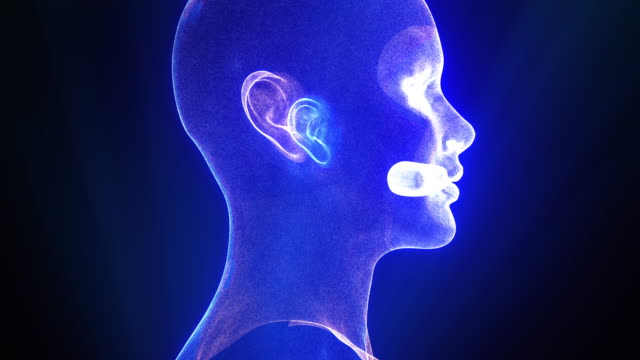 scansione futuristica e tecnologica del viso - human face video stock e b–roll