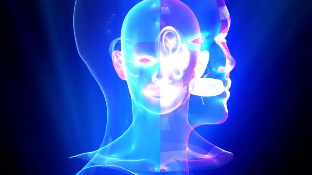 stockvideo's en b-roll-footage met futuristische kunstmatige intelligentie simulatie - hersenhelft