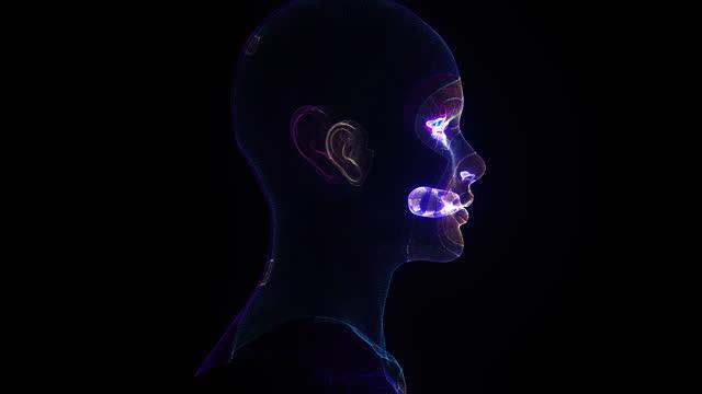 simulazione futuristica di intelligenza artificiale - emisfero cerebrale video stock e b–roll