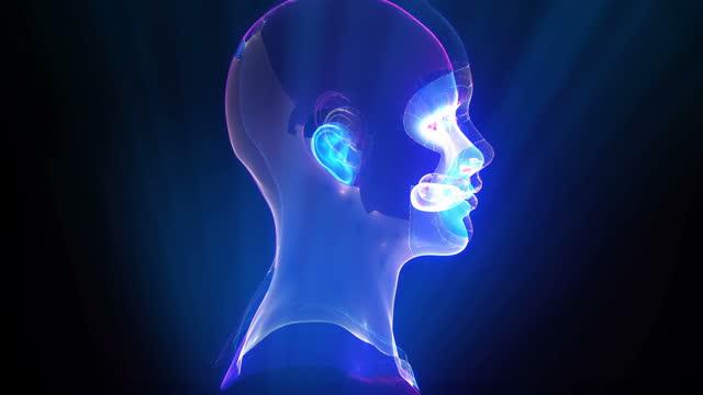 futuristica simulazione stop motion intelligenza artificiale - emisfero cerebrale video stock e b–roll