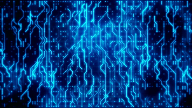 futuristic blue circuit board with moving data  in neural network. technology loopable background. - circuit board stock videos & royalty-free footage