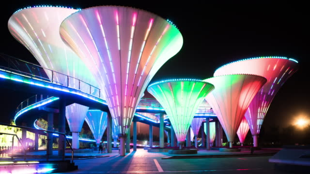 futuristic building with colorful light at night,time lapse,4k - sculpture stock videos & royalty-free footage