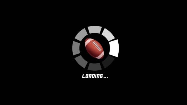 アメリカンフットボールの回転運動を伴う4k未来的なサークルプログレスバーアニメーション - ボーリングボール点の映像素材/bロール