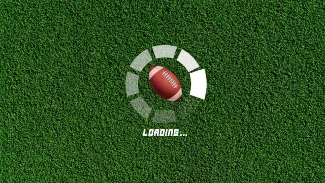 4k futuristic circle progress bar animation with american football rotation movement - american football ball stock videos & royalty-free footage