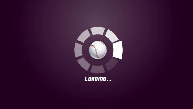 4k futuristic circle progress bar animation with baseball rotation movement - sports court stock videos & royalty-free footage