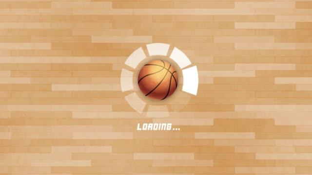 バスケットボールの回転の動きと4k未来的な円の進行バーアニメーション - ボーリングボール点の映像素材/bロール