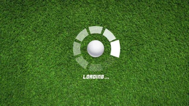 ゴルフボール回転運動を伴う4k未来的なサークル進行バーアニメーション - ボーリングボール点の映像素材/bロール