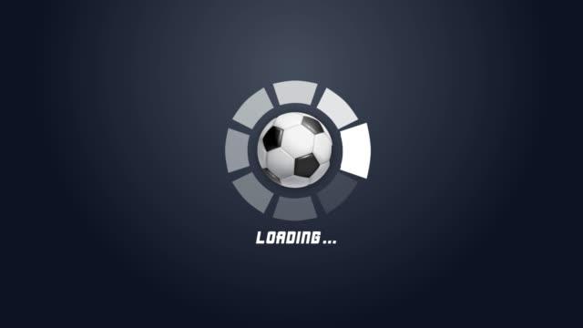 vidéos et rushes de 4k animation de barre de progression futuriste de cercle avec le mouvement de rotation de boule de football - graphisme d'information