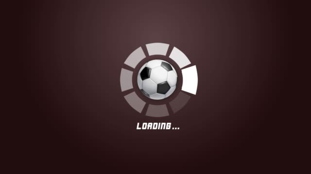 サッカーボールの回転の動きと4k未来的な円の進行バーアニメーション - ボーリングボール点の映像素材/bロール