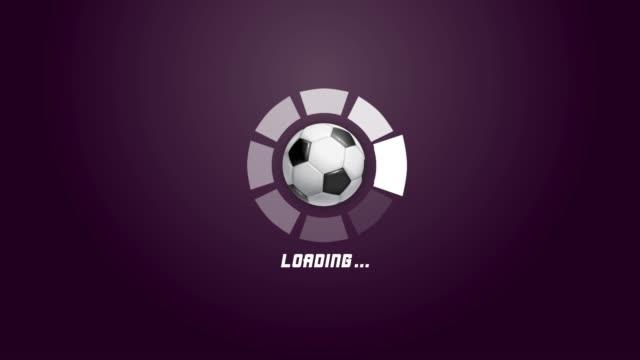 4k futuristic circle progress bar animation with soccer ball rotation movement - tennis ball stock videos & royalty-free footage