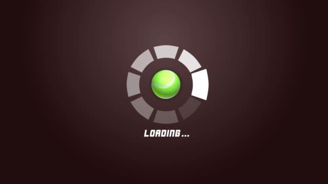 テニスボール回転運動を伴う4k未来的なサークルプログレスバーアニメーション - ボーリングボール点の映像素材/bロール