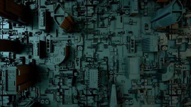 stockvideo's en b-roll-footage met futuristische printplaat als stad - doolhof