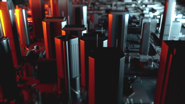 Futuristic circuit board like city