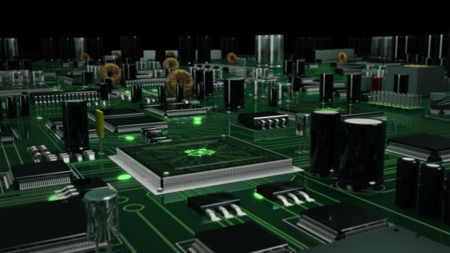 futuristic circuit board with moving electrons. loopable. green. technology background. - circuit board stock videos & royalty-free footage