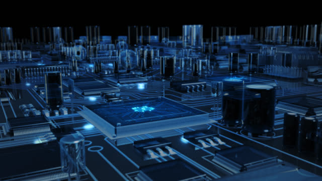 futuristic circuit board with moving electrons. loopable. technology. transparent blue. - electronics industry stock videos & royalty-free footage