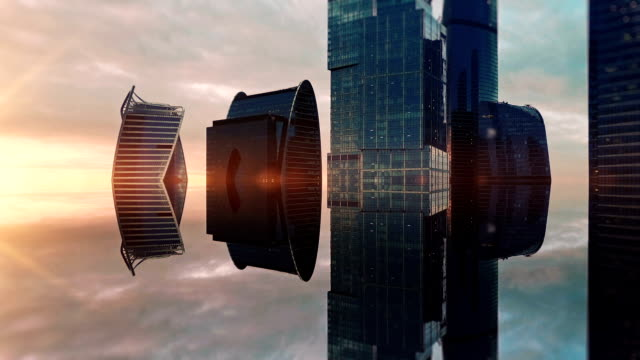 futuristic city aerial background. spiegeleffekt - fantasiewelt stock-videos und b-roll-filmmaterial
