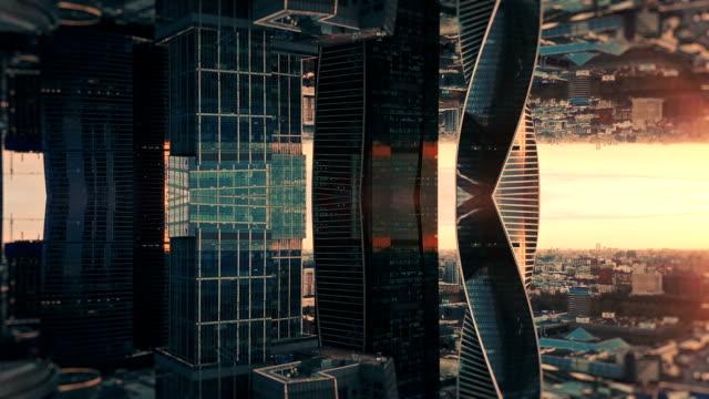 vídeos de stock e filmes b-roll de futuristic city aerial background. mirror effect - reflexo efeito de luz