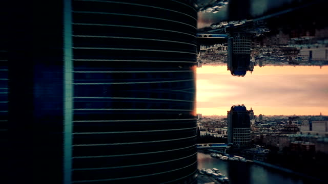 futuristic city aerial background. mirror effect - image effect stock videos & royalty-free footage