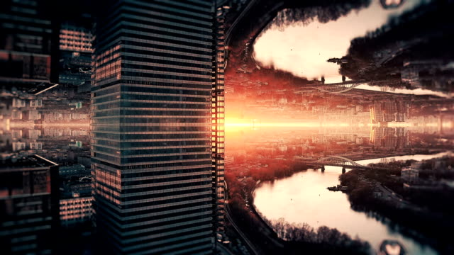 futuristic city aerial background. mirror effect - surreal stock videos & royalty-free footage