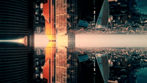 futuristic city aerial background. mirror effect - moscow russia stock videos & royalty-free footage