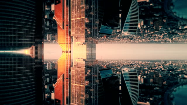 Futuristic City Aerial Background. Mirror Effect