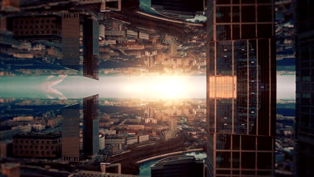 futuristic city aerial background. mirror effect - immaginazione video stock e b–roll
