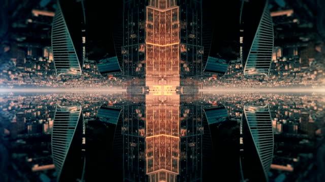 futuristic city kaleidoscope abstract background - kaleidoscope pattern stock videos & royalty-free footage