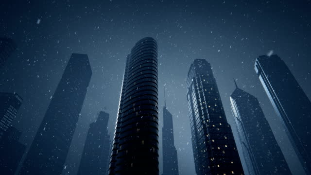 futuristic city with snow - blizzard stock videos & royalty-free footage