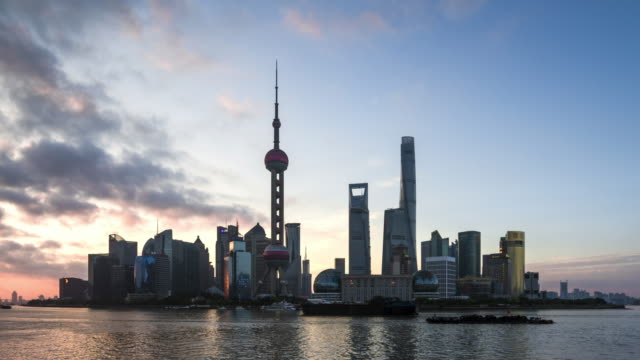 T/L MS LA Futuristic Cityscape Dawn to Day Sunrise Time Lapse / Shanghai, China