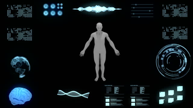 futuristic concept and user interface hud with human dna analysis - graph stock videos & royalty-free footage
