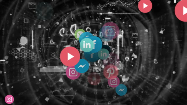 futuristic concept flying banners of the most popular social media in the world - mobile app stock videos & royalty-free footage