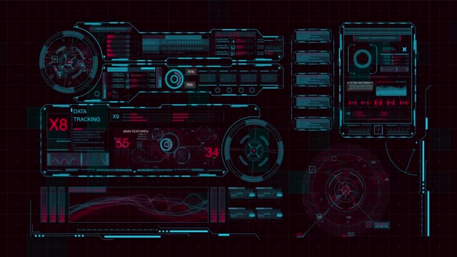 futuristic digital hud technology user interface, - pannello di controllo video stock e b–roll