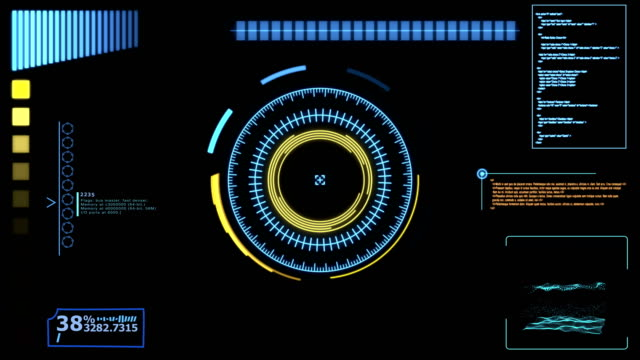 futuristic dynamic hud, hi tech user interface head up display - holographic stock videos and b-roll footage