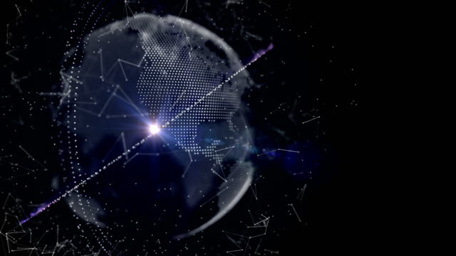 Futuristic Earth with Technology Orbit Ring and Connection Wireframe