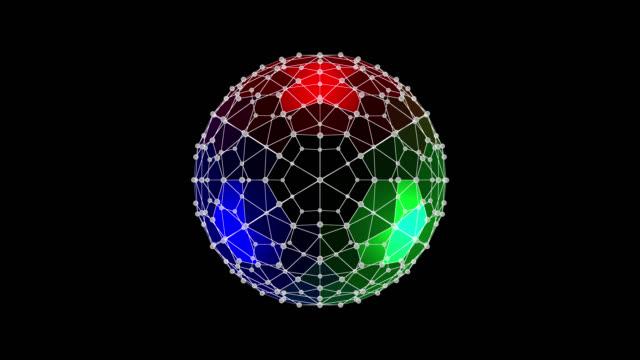 futuristic geometrical wireframe (video loop). - kula geometriformad bildbanksvideor och videomaterial från bakom kulisserna