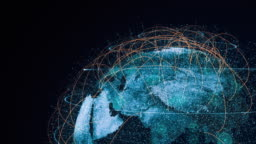 Futuristic global connections around the earth planet
