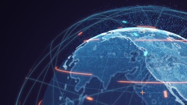 vídeos y material grabado en eventos de stock de conexiones globales futuristas alrededor del planeta tierra - mapamundi