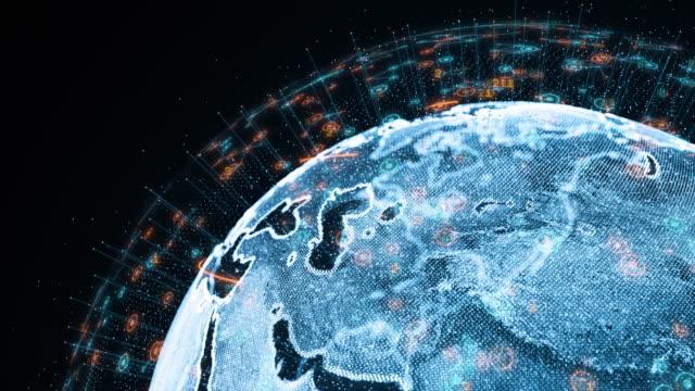 vídeos de stock, filmes e b-roll de conexões globais futuristas ao redor do planeta terra - ocidentalização