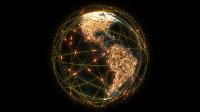 futuristische globale verbindungen um den erdplaneten mit alphakanal - drahtlose technologie stock-videos und b-roll-filmmaterial