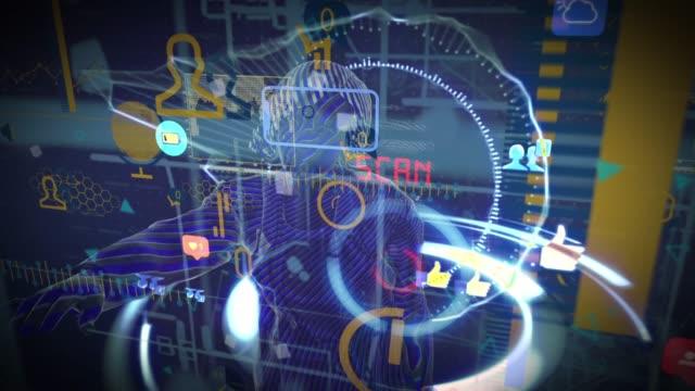 vídeos de stock, filmes e b-roll de conceito gráfico futurista da relação de usuário - hologram