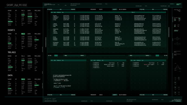 futuristic hacker interface with hud and infographic elements - coding stock videos & royalty-free footage